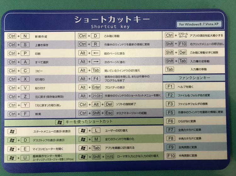 100円ショップ「Seria(セリア)」で見つけたショートカットキーのマウスパッド