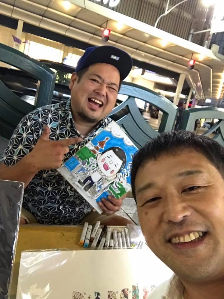 京都の先斗町で似顔絵