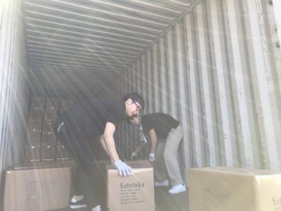 40フィートコンテナ 輸送 ダンボールケース
